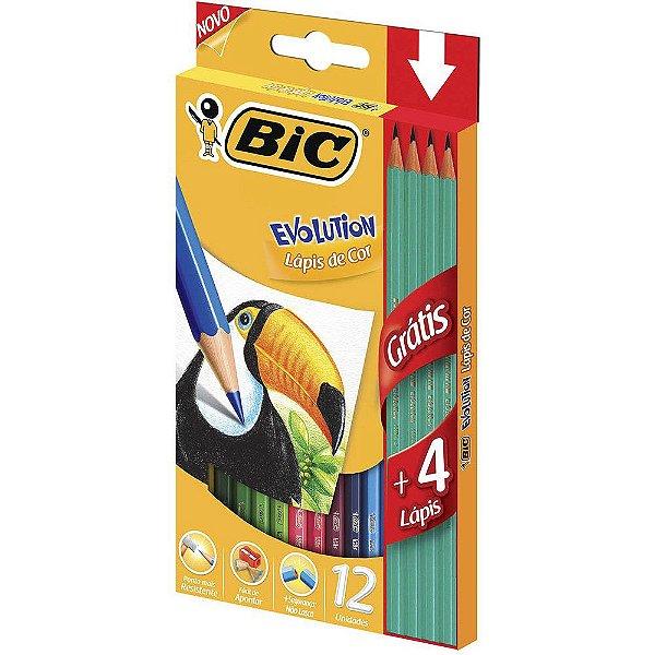 Lápis de cor Evolution 12 cores + 4 Lápis preto Bic Evolution