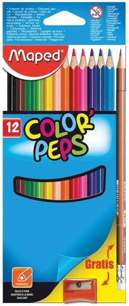 Lápis de cor 12 cores +1 lápis de grafite + 1 apontador - Maped