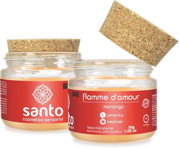FLAMME D'AMOUR - VELA AROMÁTICA DE MORANGO - SANTO COSMÉTICOS