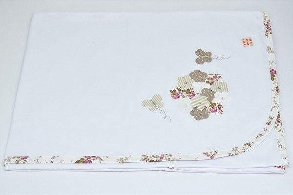 Manta Malha Bordada - Floral linho bege
