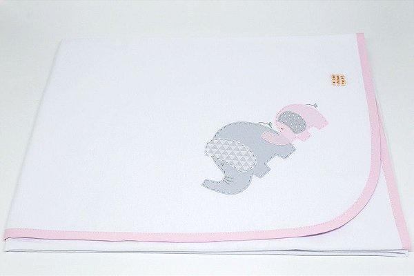 Manta Malha Bordada - Elefante rosa