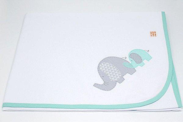 Manta Malha Bordada - Elefante verde