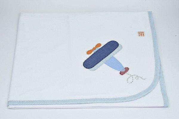 Manta Malha Bordada - Avião colorido