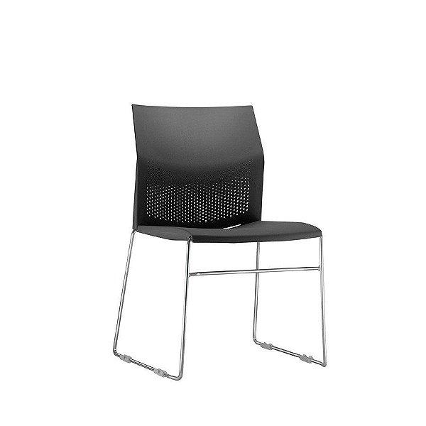 Cadeira Escritório Fixa Day Secretária Cromada