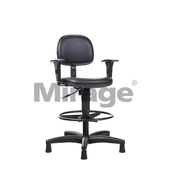 Cadeira Escritório Fixa Pop Secretária Alta Preta com Braços