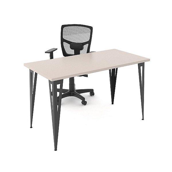 Mesa Home-Office Prisma Branca 120x60cm Base Preta
