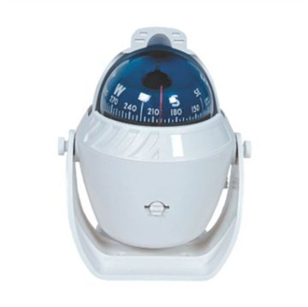 Bússola de sobrepor branca com base móvel luz 12v 60 mm