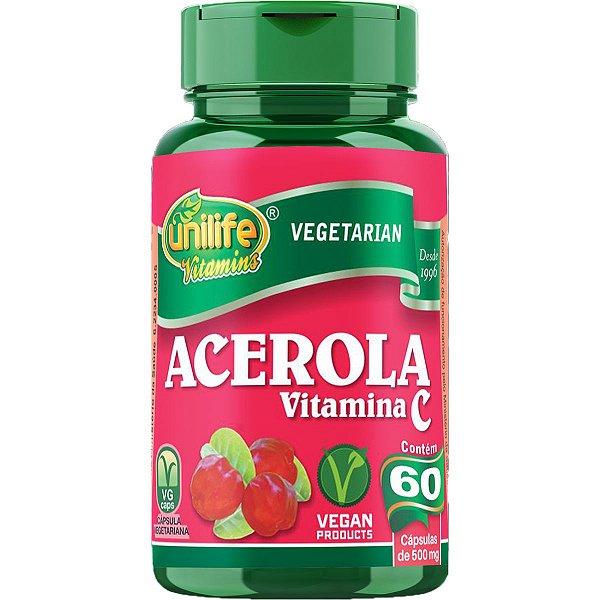 Acerola E Vitamina C 500mg 60 Cápsulas - Unilife