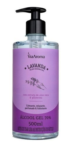 Álcool Gel Lavanda 500ml - Via Aroma