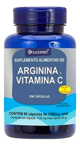 Arginina E Vitamina C 60 Cápsulas 1550mg - Luciomed