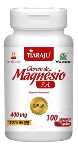 Cloreto De Magnésio P. A 400mg 110 Cápsulas - Tiaraju