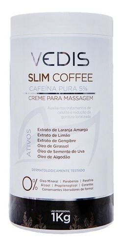 Creme De Massagem Cafeína Pura 5% Slim Coffee 1kg - Vedis