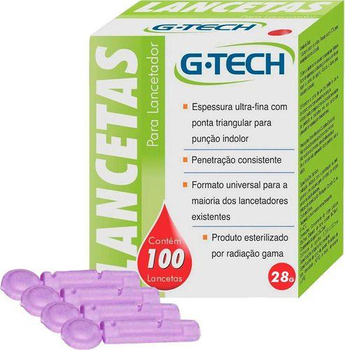 Lancetas Para Lancetador 28g 100 Unidades - G-tech