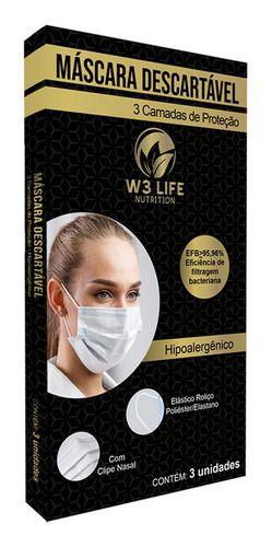 Máscara Descartável Tripla Camada 3 Unidades - W3 Life