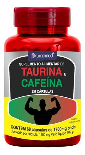 Taurina E Cafeína 60 Cápsulas 1700mg - Luciomed