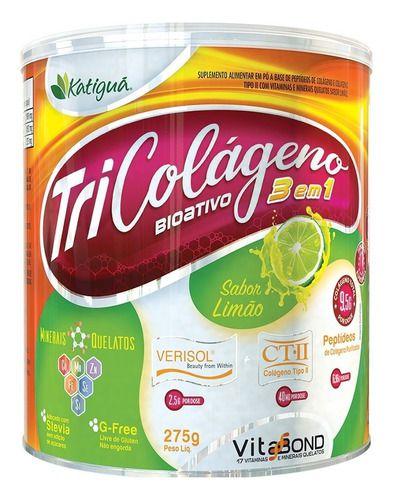 Tri Colágeno Tipo 1, 2 E Verisol 275g Sabor Limão - Katigua