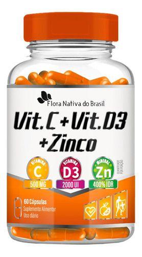 Vitamina C D3 e Zinco 600mg 60 Cápsulas - Flora Nativa
