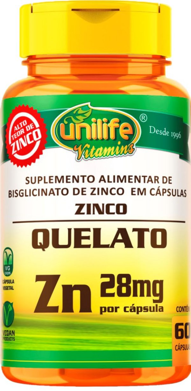 Zinco Quelato Zn 600mg 60 Cápsulas - Unilife