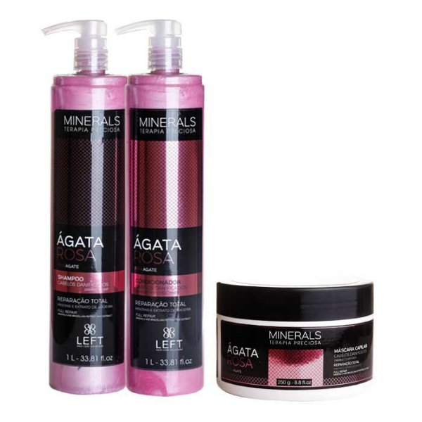 Kit Ágata Rosa Shampoo + Condicionador 2x1L + Máscara 250g Minerals Cabelo Danificado