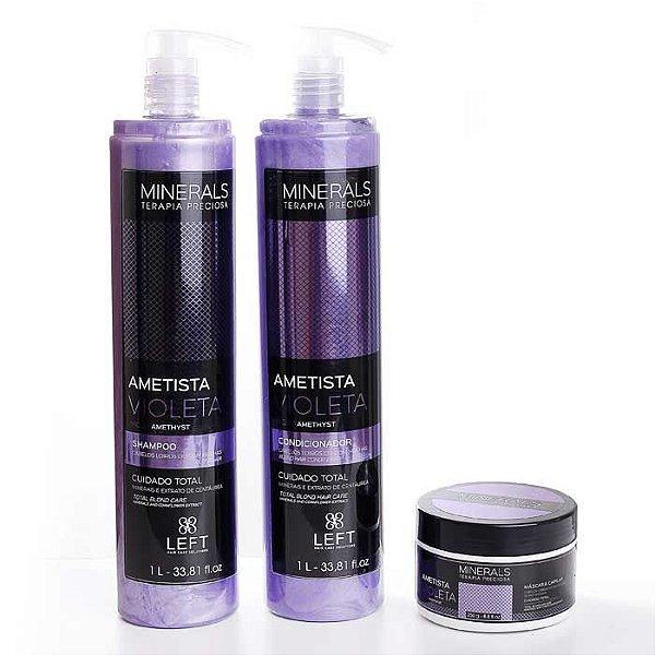 Kit Ametista Violeta Shampoo + Condicionador 2x1L + Máscara 250g Minerals