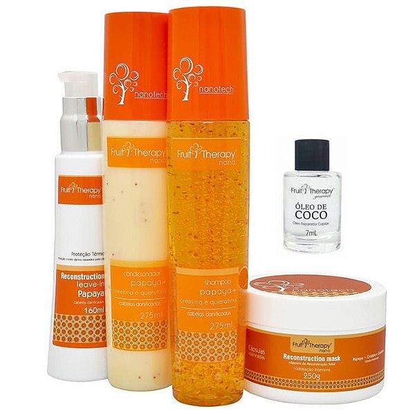 Kit Home Care Papaya, Creatina e Queratina (4 itens) + Óleo de Coco 7ml Cabelo Danificado