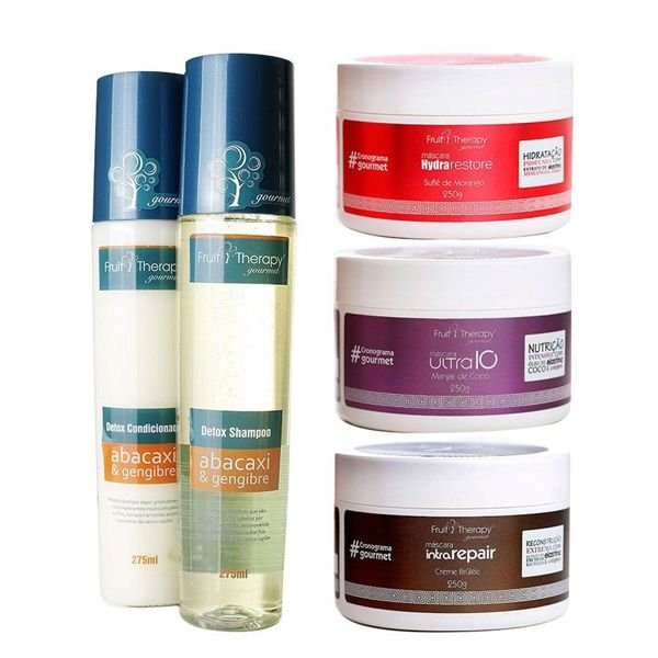 Cronograma Capilar Gourmet Kit Home Care (2x275ml + 3x250g)