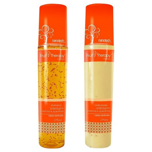 Kit Shampoo + Condicionador Papaya, Creatina e Queratina Fruit Therapy Nano 2x275ml Cabelo Danificado