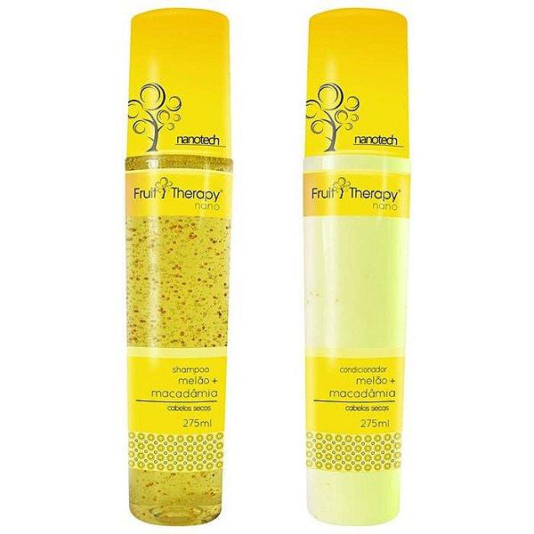 Kit Shampoo + Condicionador Melão e Macadâmia Fruit Therapy Nano 2x275ml Cabelo Seco ou Ressecado
