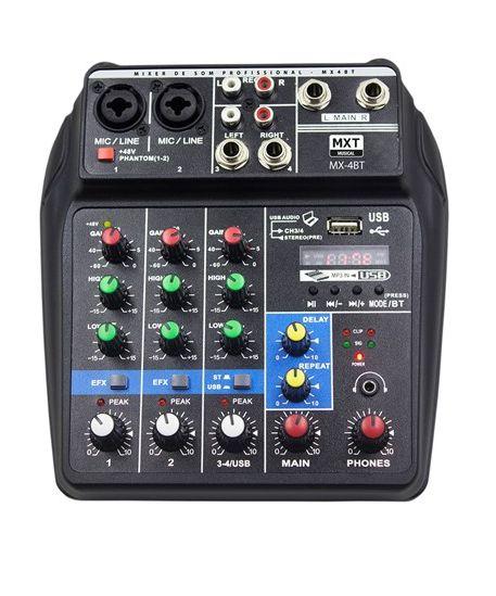 Mesa de Som Mixer Profissional 4 Canais Mx-4bt Mxt
