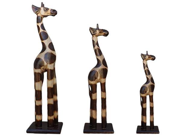 Trio de Girafas em Madeira 30/25/20cm - Bali