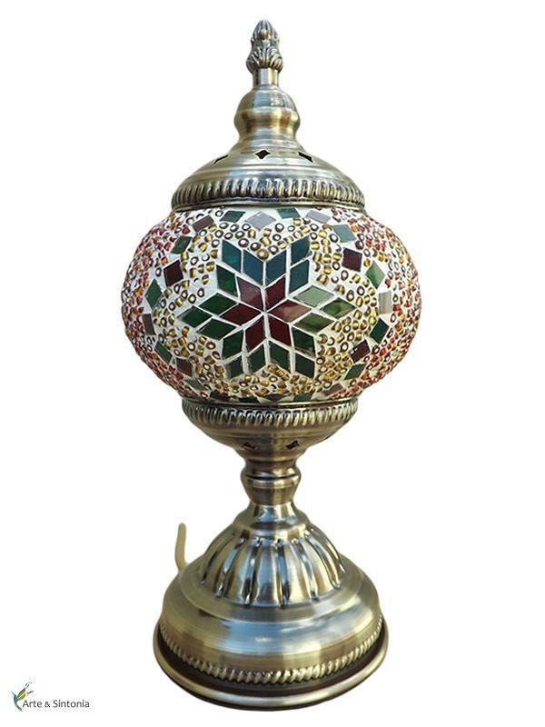 Abajur Mosaico Verde 30cm p/ decoração - Estilo Turco