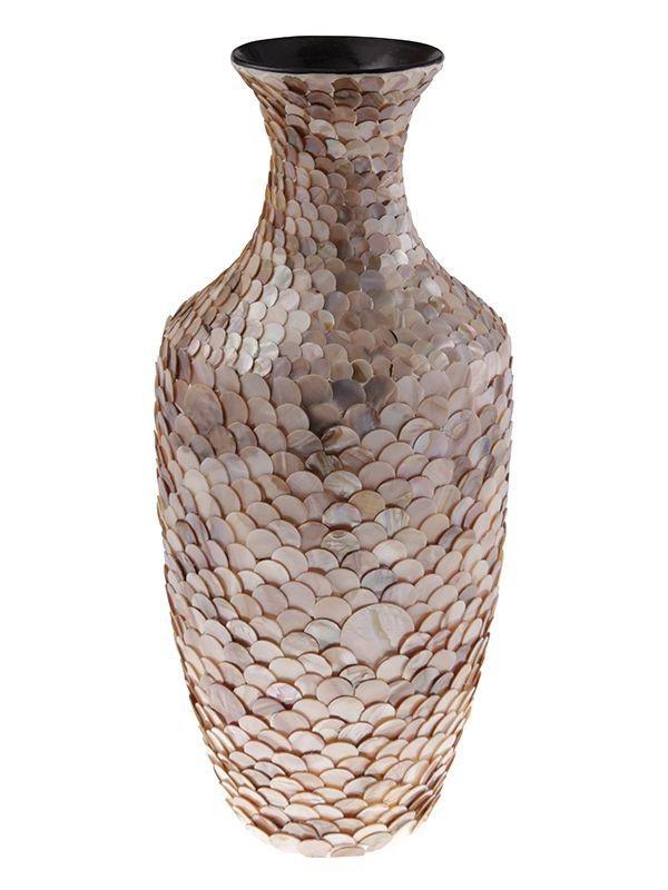 Vaso Decorativo em madrepérola marrom - Arte Vietnã 44x20cm