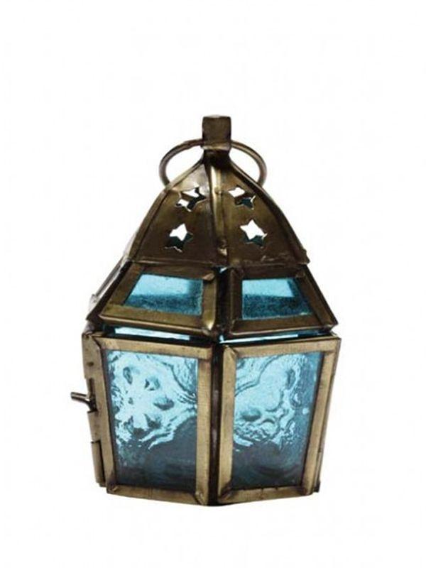 Lanterna Marrakesh p/ decoração velas - Ida Azul 09cm