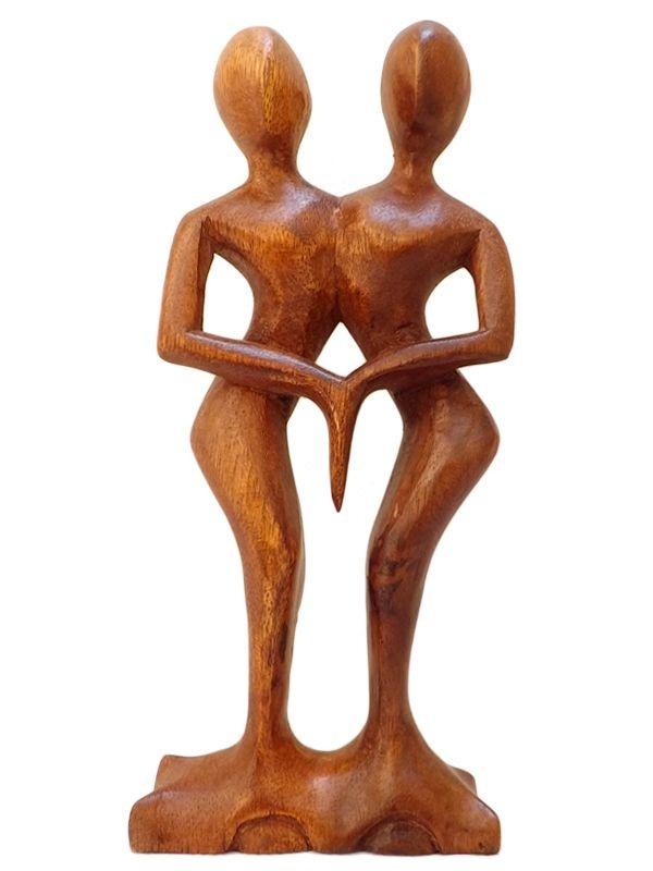 "Escultura Abstrata em Madeira ""In Love"" 30cm"