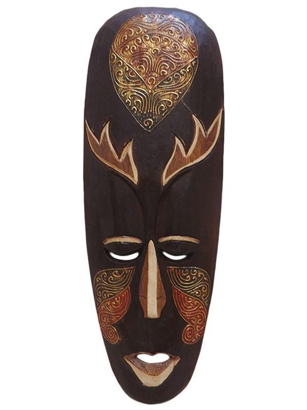 Máscara Decorativa de Bali em Madeira 50cm