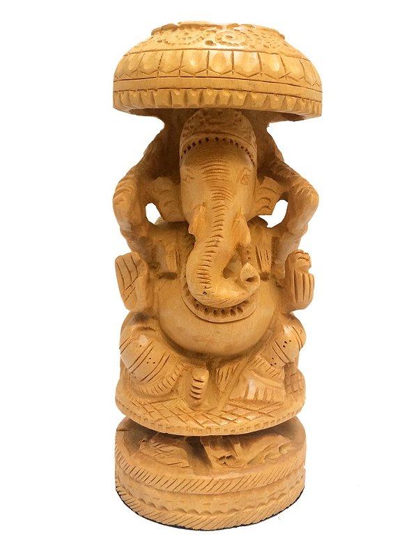 Escultura em Madeira p/ Decoração - Deus Ganesh