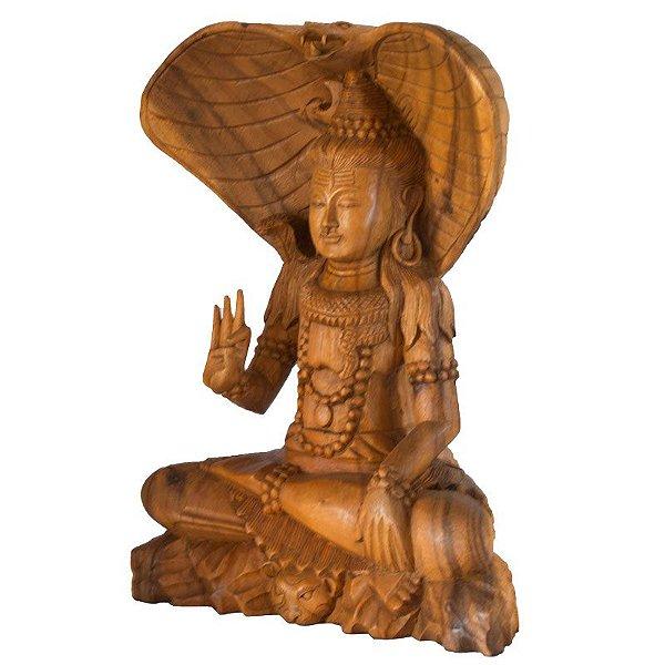Escultura Shiva em Madeira 40cm - Bali