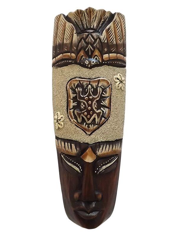 Máscara Bali em Madeira 30cm - Sapo