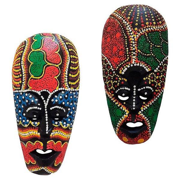 Máscaras Lombok em Madeira 18cm - Par