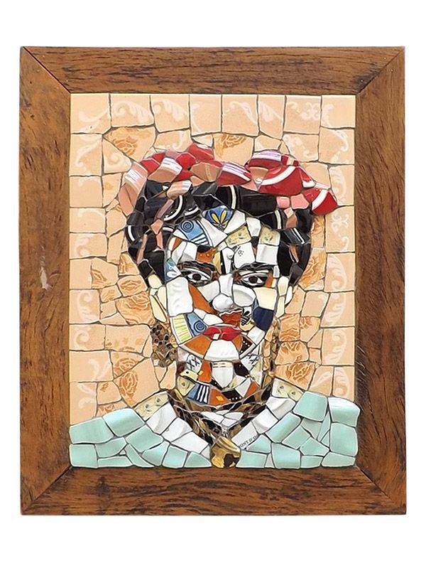 Quadro Mosaico Frida - Moldura em Madeira