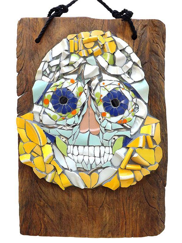 Placa Mosaico Caveira Mexicana