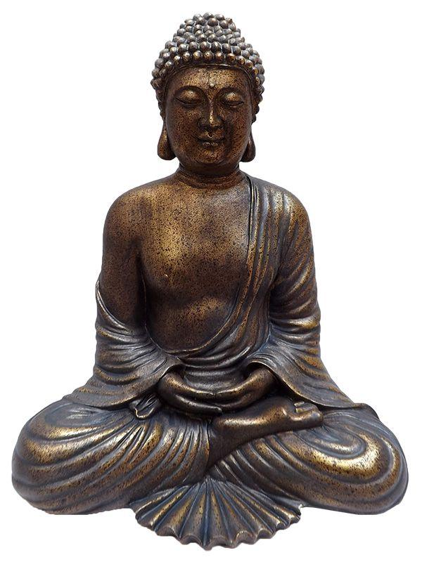 Escultura Buda em Resina Pátina - 30cm