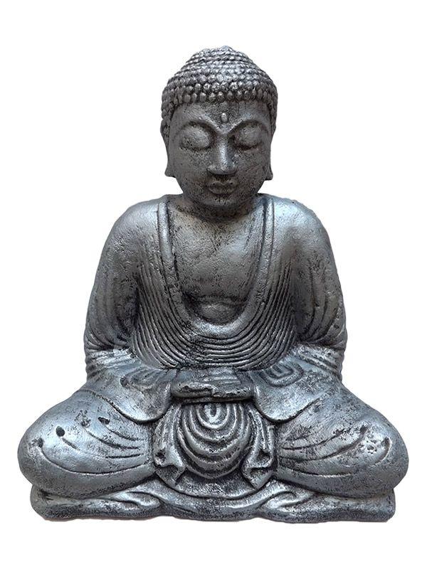 Escultura Buda de Pedra para Jardim 30 cm - Cinza
