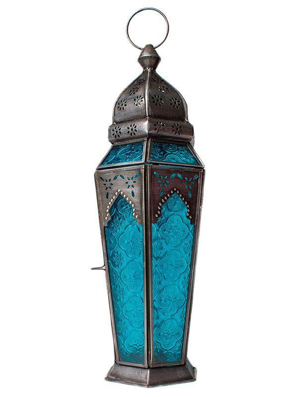 Lanterna Indiana Metal e Vidro Azul 43cm
