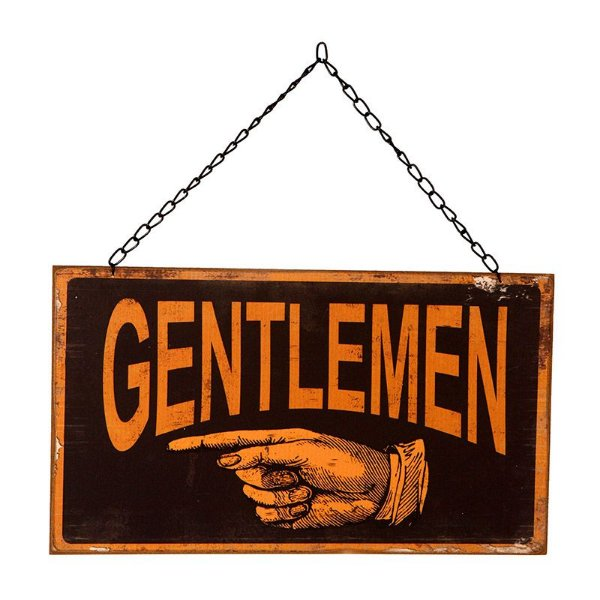 "Placa Decorativa Banheiro ""Gentlemen"""