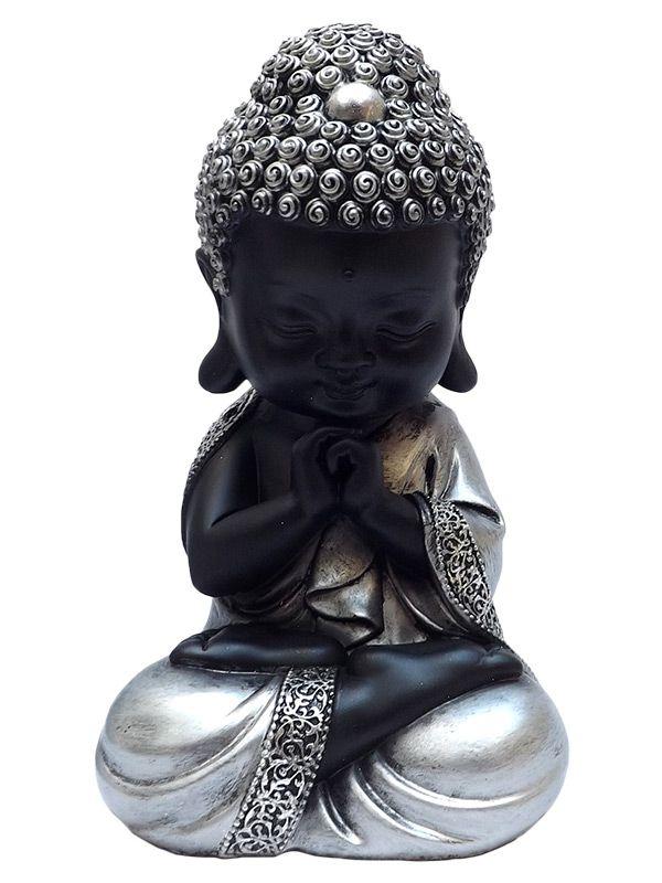 Monge Budista Orando em Resina  20cm