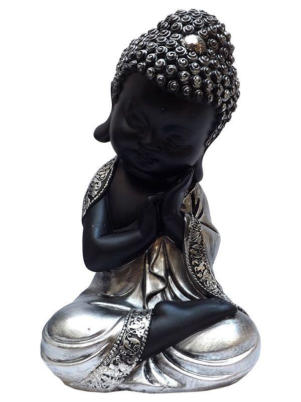 Escultura Monge Budista Orando em Resina 20cm