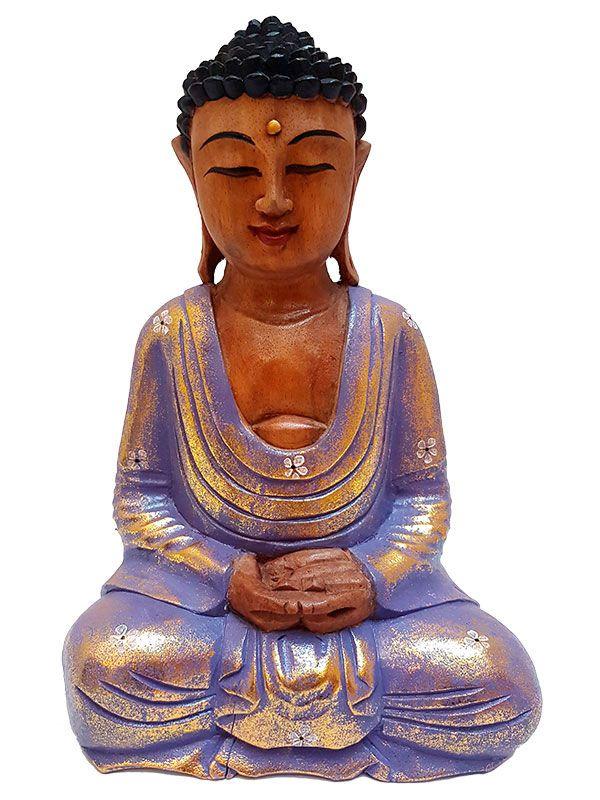 Escultura de Buda em Madeira Color 32cm