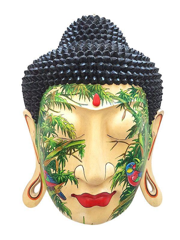Cabeça de Buda Tatuada em Madeira - Bali
