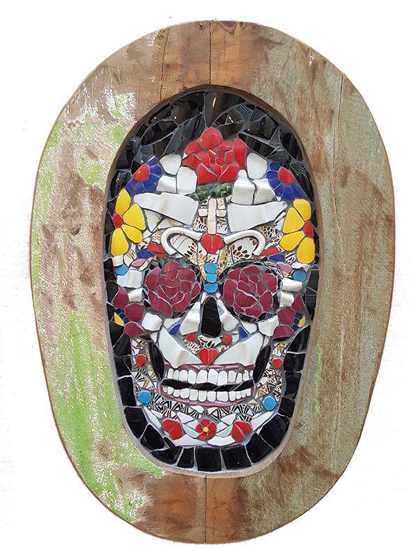 Placa Caveira Mexicana em Mosaico 40cm